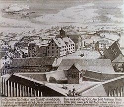 Kloster Rüti - Gesamtansicht von der Schanz um 1740.jpg