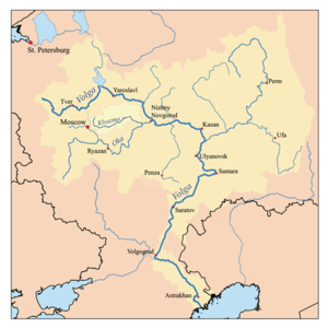 Klyazma River - Map of the Volga watershed with the Klyazma highlighted