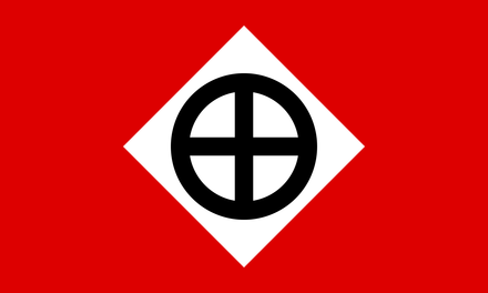 The flag of the Knights Party, the political branch of the Knights of the Ku Klux Klan Knights Party flag.PNG