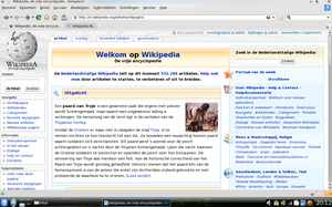 Konqueror using KHTML to render the Dutch Wikipedia front page in 2009