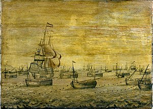 Scottish east coast fishery - A fleet of Dutch herring busses, c. 1700, escorted by a naval vessel