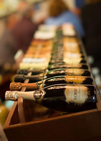 Korbel Champagne Cellars - Korbel Champagne on a shelf at the Korbel Champagne Cellars