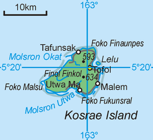 Walung, Kosrae - Map of the state of Kosrae