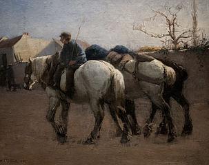 Rue de village français avec chevaux
