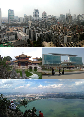 Clockwise from top: Kunming's Skyline, Kunming Railway Station, Dian Lake, and Yuantong Temple