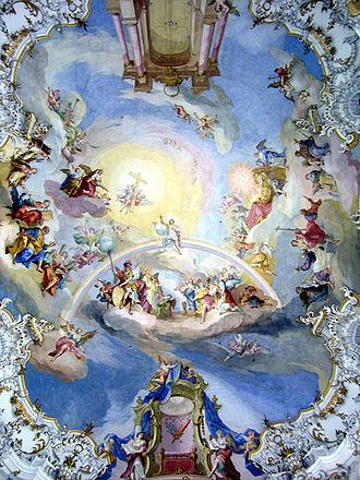 Johann Baptist Zimmermann - Ceiling fresco in the Wies Church