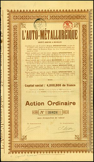 Métallurgique - Share of the L'Auto-Métallurgique SA, issued 1920
