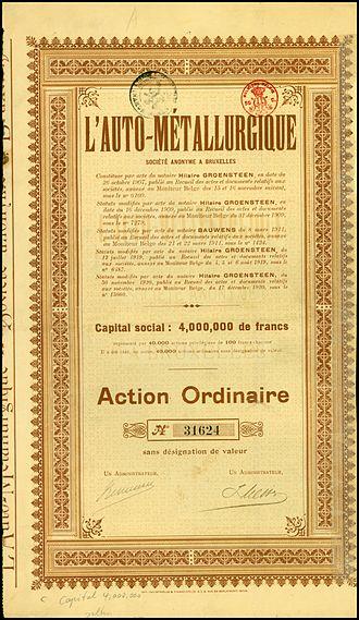 Métallurgique - Share of the L'Auto-Métallurgique SA, issued 1920