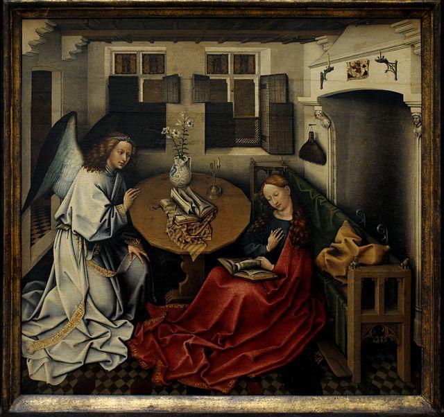 Die Verkündigung in einer bürgerlichen Stube des 15. Jahrhunderts. Quelle: wikicommons, Urheber: PaulineM