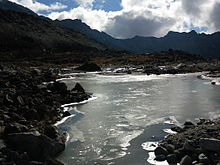 La frozen lakes below Rathong glacier (rangeet river tributeries).jpg