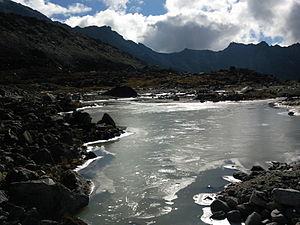 Rathong Glacier - Image: La frozen lakes below Rathong glacier (rangeet river tributeries)