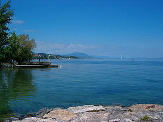 Canton of Neuchâtel - View of Lake Neuchâtel from the northern shore, port of Vaumarcus