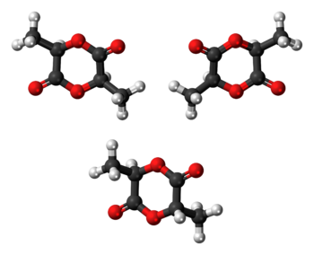 Ball-and-stick models of three isomers