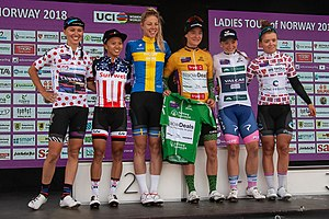 Ladies Tour of Norway 2018 - podium and jerseys.jpg