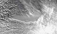 Lake Vostok - When imaged from space by radar, Lake Vostok can be seen as a flat area within the ice sheet. (NASA GSFC)