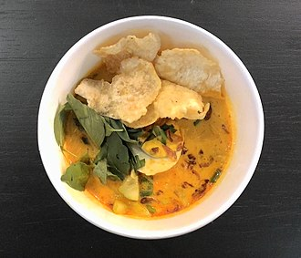Laksa - Betawi laksa with emping (melinjo cracker)