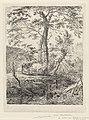Landschap met twee koeien bij bomen en een beek Landschappen (serie A) (serietitel), RP-P-OB-24.211.jpg
