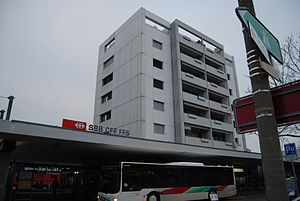 Langenthal - Train station and high-rise in Langenthal