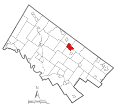 Location of Lansdale in Montgomery County, Pennsylvania.