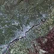 A simulated-color satellite image of Philadelphia taken on NASA's Landsat 7 satellite. The Delaware River is visible in this shot.