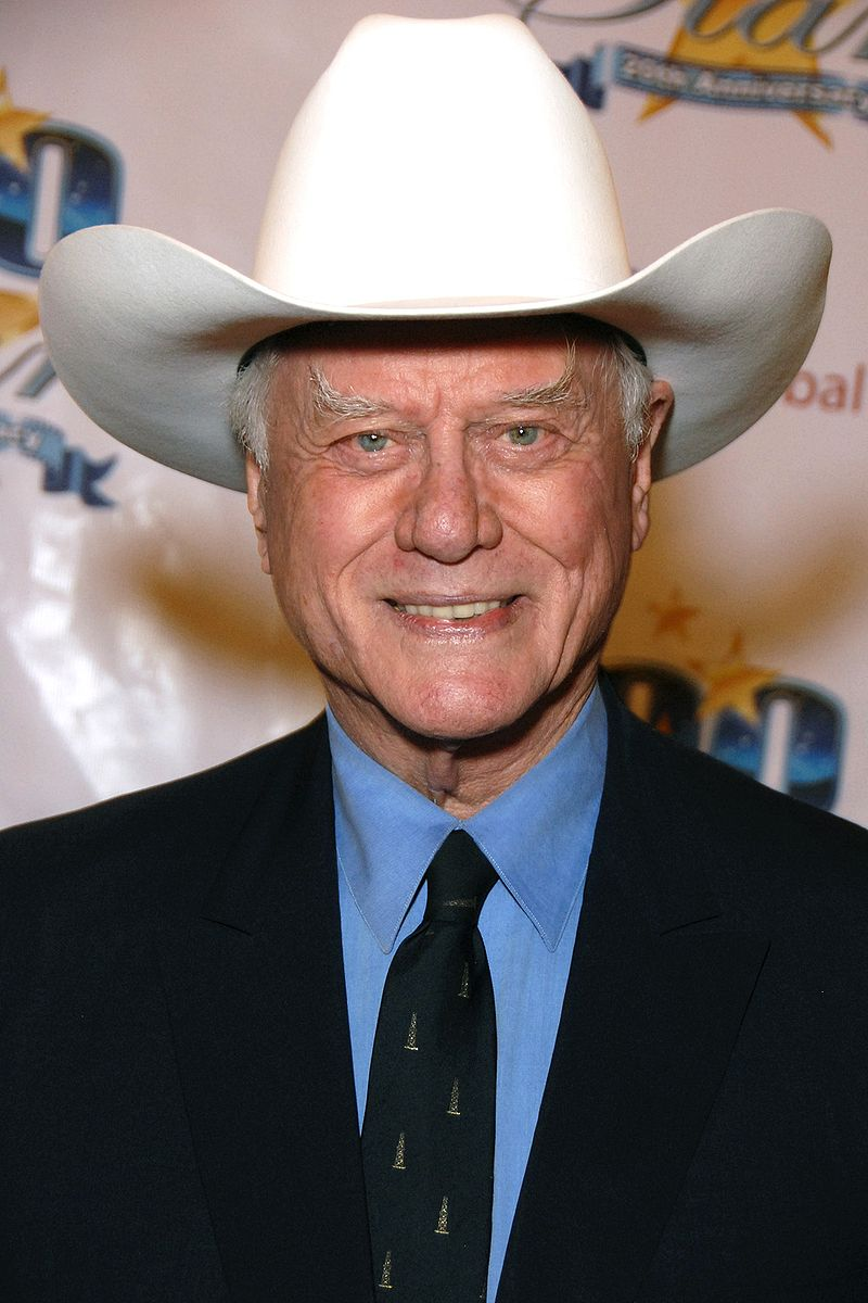 Hagman wearing a cowboy hat