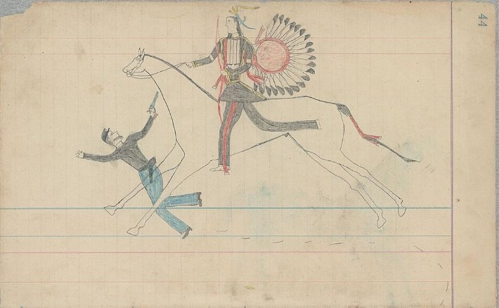 Ledger Drawing - Arapaho warrior and U.S Soldier