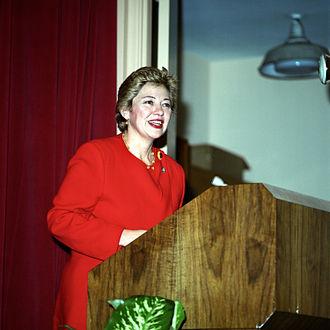 Leslie Byrne - Representative Leslie Byrne gives her keynote address at the Pentagon, March 31, 1993, during the Women's History Month observance.