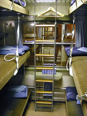 Couchette car - The interior of typical European couchette compartment, with the beds folded down to the night-time configuration.