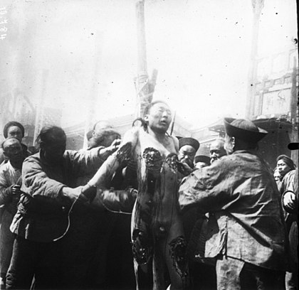 Ling Chi - execution by slow slicing - was a form of torture and execution used in China from roughly AD 900 (Tang era) until it was banned in 1905. Lingchi (cropped).jpg