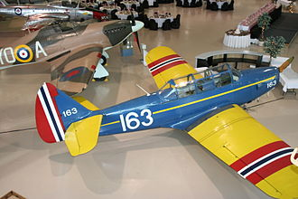 Little Norway - Fairchild PT-26 in the colour scheme used in the Little Norway training camp, Canadian Warplane Heritage Museum