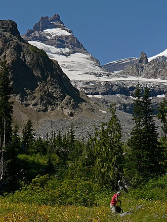 Wonderland Trail - Little Tahoma, on the east flank of Mount Rainier, looms over the Wonderland Trail where it crosses Fryingpan Creek.