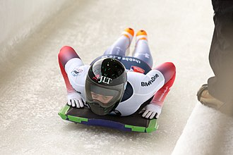 Skeleton (sport) - Lizzy Yarnold competing in the World Cup at Lake Placid in November 2017