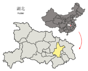 Location of Wuhan Prefecture within Hubei (China).png