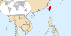 A map depicting the location of the Republic of China in East Asia and in the World.