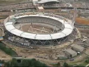 The London Olympic Stadium under construction ...