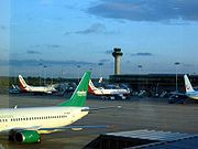 View of the apron at Stansted Airport. Channel Express (now Jet2.com), Air Berlin, and TUI jets can be seen