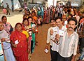 Long queue in front of a polling booth of Rajnand Gaon Assembly constituency, during the first phase of polling for Assembly Election in Chhattisgarh on November 11, 2013.jpg