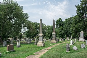 """Prospect Hill Cemetery (Washington, D.C.) - Curving paths, trees, and landscaping are typical of Prospect Hill Cemetery's """"garden cemetery"""" design."""