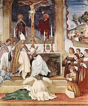 Indulgence - A Catholic bishop granting plenary indulgences for the public during times of calamity. Note the almsgiving in the background.  Wall Fresco by Italian Artist Lorenzo Lotto, Suardi, Italy, circa 1524.