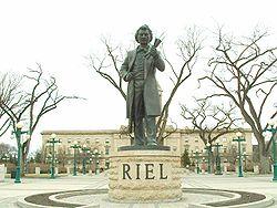 Statue of Louis Riel by Miguel Joyal in Winnipeg, Manitoba.