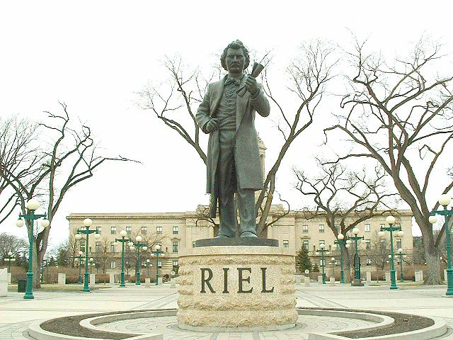 Statue of Louis Riel in front of the Manitoba Legislature, sculpture made by Miguel Joyal, Winnipeg, Manitoba.