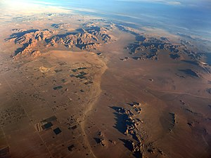 Aerial view of the Lucerne Valley in the Mojave Desert