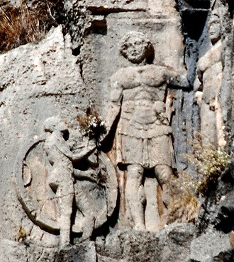 Lycians - Lycian tomb relief at Myra, 4th century BC.