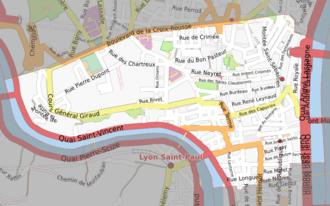 1st arrondissement of Lyon - Map of the 1st arrondissement of Lyon