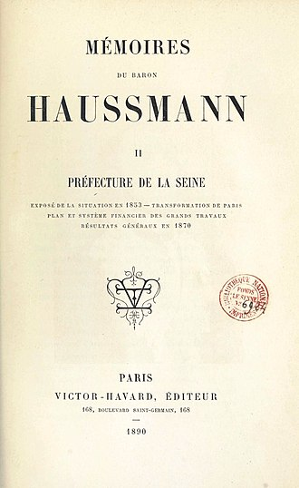 Georges-Eugène Haussmann - Title page of Memoires by Haussmann, Victor Havard Publisher, 1890.