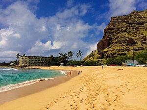 Mākaha, Hawaii - Mākaha Beach Park with the slopes of the Waianae Mountains on the right.