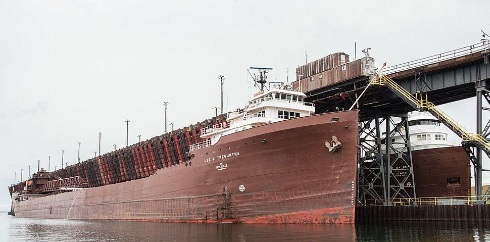M-V Lee A. Tregurtha and the M-V Kaye E. Barker at the Iron Ore Dock in Marquette, Michigan