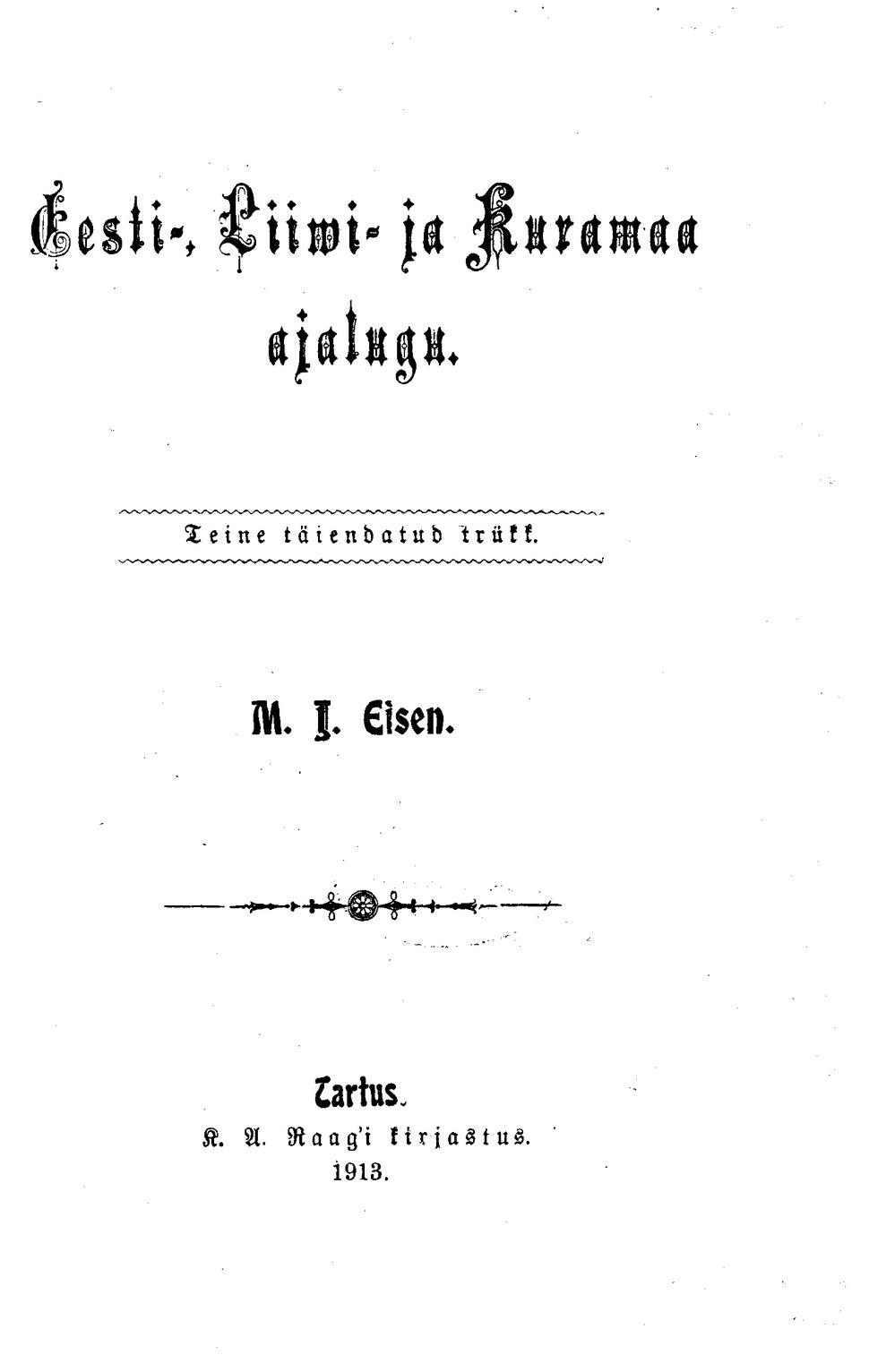 M. J. Eisen, Eesti-, Liiwi- ja Kuramaa ajalugu, 2. tr.djvu