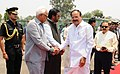 M. Venkaiah Naidu being bid farewell by the Governor of Jammu and Kashmir, Shri N.N. Vohra, the Minister of State for Development of North Eastern Region (IC), Prime Minister's Office, Personnel, Public Grievances & Pensions.JPG