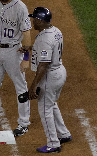 Eric Young (baseball) - Young as a first base coach for the Colorado Rockies in 2015